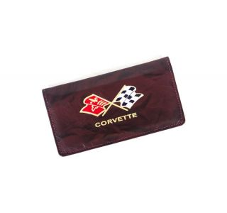 Domestic Burgundy Leather Checkbook Cover w/Cross Flags Emblem