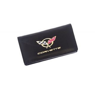 Domestic Black Leather Checkbook Cover w/C5 Emblem