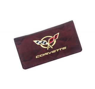 Domestic Burgundy Leather Checkbook Cover w/C5 Emblem