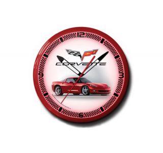 C6 Red Corvette 20in Neon Clock