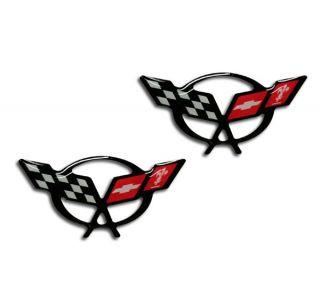 97-04 C5 Corvette 1 3/4in Domed Cross Flag Emblems (2pc)
