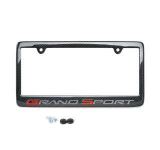 10-13 Carbon Fiber License Plate Frame w/Grand Sport Emblem