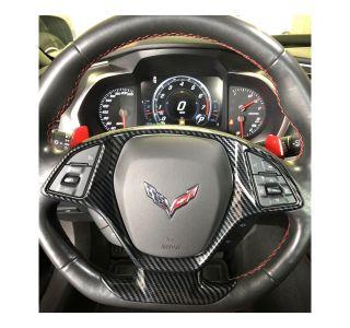 14-19 Carbon Fiber Look Steering Wheel Lower Overlay