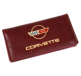 Burgundy Italian Leather Checkbook Cover w/C4 Emblem (Default)
